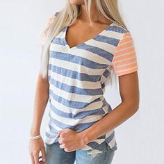 97607e745b2 Everyday T-shirts for women – Challyhope Womens Summer Casual T-Shirt  Striped Splice Short Sleeved V-Neck Blouse (L