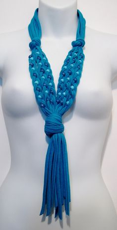 Womens Fashion Multi Strand Beaded Scarf Necklace Turquoise 668