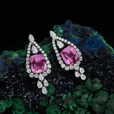 HarryWinston. The one-of-a-kind Cushion-Cut Pink Sapphire Earrings from the House of #HarryWinston featured in @southcoastplaza. #HighJewelry