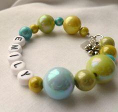 Little Girls Bracelet Customize Cool Blue & Green. $14.00, via Etsy.