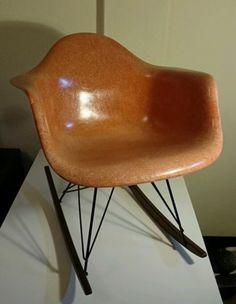 SIEGE ANCIEN, D'OCASSION ORIGINAL SUMMIT PLASTIC USA EAMES orange Rocking chair