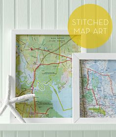 Celebrate and remember family vacations or road trips with friends by hand-stitching the route on maps and framing them—brilliant!