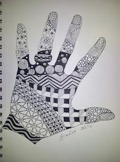 Zentangle B's left hand