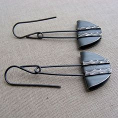 Charcoal gray Modern Dangle Earrings - Fold Formed