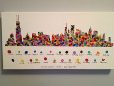 "A great example of a classroom project! All students participating, each students fingerprint identified in the key below, creating a contemporary, universally appealing piece with a whole lot of sentiment! ""Kindergarten Class Auction Project - Chicago Skyline -- finished!"""