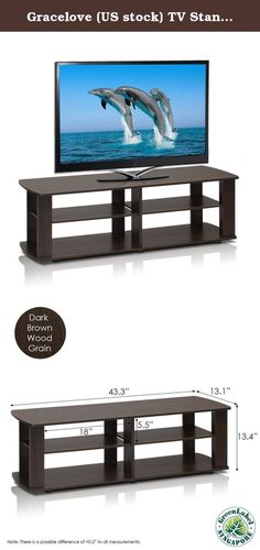 """Gracelove (US stock) TV Stand Entertainment Center Media Furniture Console Storage Cabinet Home Wood. Product specifications: Color: Dark Brown Size: Short 43.3""""(W)x13.4""""(H)x13.1""""(D) Material: Manufactured from Engineered particle board. Recommended maximum weight: 60 lbs The Gracelove Entertainment center is by far the most popular TV entertainment center. It is designed to meet your need of fits in your space and fits on your budget. Package : 1 X TV Stand/ Media Furniture."""