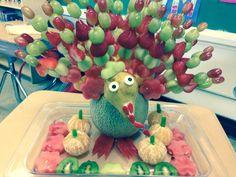 Mi Pavo de thanksgiving hecho con frutas