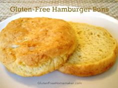 These gluten-free hamburger buns are a soft bread that is perfect for hamburgers or any kind of sandwich.