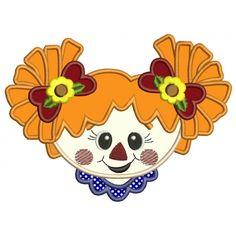 Cute Scarecrow Girl Head Applique Machine Embroidery Digitized Design Pattern #halloween #embdoidery #appliques #head