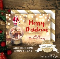 Snow Globe Christmas Photo Card with Santa Claus, Editable and Printable by you with Corjl, Instant Access, Fun Family Holiday Card - Christmas Photo Cards, Christmas Photos, Christmas Fun, Holiday Cards, Christmas Bulbs, Diy Snow Globe, Snow Globes, Photo Birthday Invitations, Globe Ornament