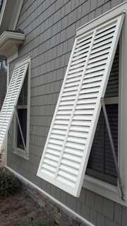 Louvered exterior shutters are the most popular exterior window shutters in the US. We offer louvered exterior shutters in both operational & decorative formats Window Shutters Exterior, Outdoor Shutters, Window Awnings, Pallet Shutters, House Awnings, Cafe Shutters, Cedar Shutters, Louvered Shutters, Bermuda Shutters