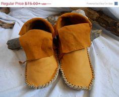 ON SALE Gold Elk/Deer Hide Short Moccasins by FaeMoonWolfDesigns, $56.25