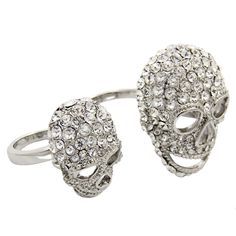 ☠ Swarovski Crystal Two Skulls Double Finger Ring ☠