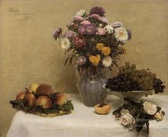 4-White-Roses-Chrysanthemums-in-a-Vase-Peaches-and-Grapes-on-a-Table-with-a-Whi-flower-painter-Henri-Fantin-Latour-Impressionism-Flowers