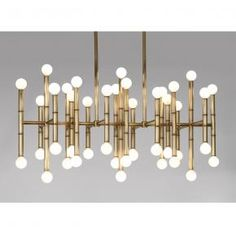 """Jonathan Adler Mobile  • 38"""" wide x 14"""" deep x 17"""" high • minimum drop 25.25"""", maximum drop 55.25"""" • forty two 25 watt max candelabra bulbs (not included), direct wire only"""