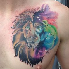 Pics For > Lion Watercolor Tattoo