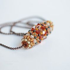 Honey and Orange Necklace. Tan, Browm, Cream and Cooper Beadwork