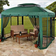 10' x 10' pitched roof line portable patio gazebo/netting ... - Patio Gazebo Ideas