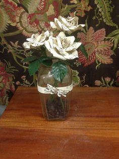 Paper flowers - vintage sheet music roses and jar wrap. Lovely and lighthearted! Floral Bouquets, Wedding Bouquets, Wedding Reception, Wedding Ideas, Paper Flowers Wedding, Vintage Sheet Music, Super Excited, Flower Crafts, Flower Power