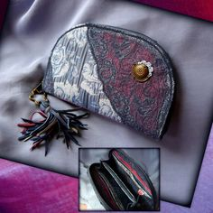 Handmade by Judy Majoros - Fringe wallet-clutch with rose decorations, and lace and leather fringe. Rose Decor, Bagan, Leather Fringe, Clutch Wallet, Zip Around Wallet, Decorations, Lace, Handmade, Hand Made