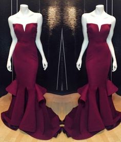 2017 Elegant Burgundy Prom Dress,Gorgeous Mermaid Style Evening Dress for Women,Sweetheart Prom Dress,Sexy Satin Fabric Prom Dress,Floor Length Evening Dress