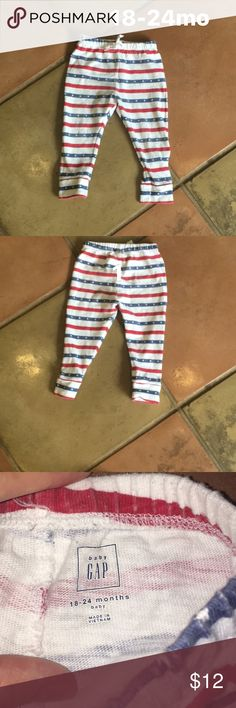 Baby Gap 18-24mo cute sweat pant Super cute Baby gap sweat pant!  18-24 mo white blue/ red stripe design. Boy or girl unisex. Excellent condition pet free smoke free home GAP Bottoms Casual