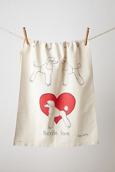 Poodle Love Dishtowel  #anthropologie