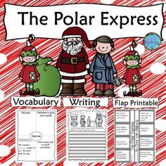 The Polar Express by Chris Van Allsburg is a delightful story and this activity includes a comprehension interactive flap printable, vocabulary graphic organizers and common core aligned writing activities with rubrics. Polar Express Book, Polar Express Activities, Christmas Writing, Christmas Math, Christmas Activities, Vocabulary Graphic Organizer, Graphic Organizers, Vocabulary Flash Cards, Christmas In England