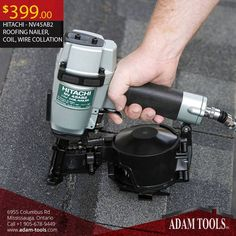 """#GetItNow The Hitachi #NV45AB2 1-3/4"""" Coil Roofing Nailer is just $399 at Adam Tools Inc ! Order: https://www.adam-tools.com/nv45ab2-roofing-nailer-coil-wire-collation.html  #canada #mississuaga #power_tools #building_supplies #adamtools #shop_online #buy_online #Hitachi #Roofingnailor"""