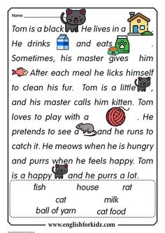 English for Kids Step by Step: Reading Comprehension Worksheets: Thomas the Cat educacion English Activities For Kids, English Grammar For Kids, Teaching English Grammar, English Worksheets For Kids, English Lessons For Kids, English Reading, Learn English Words, English Vocabulary, Reading Comprehension Worksheets