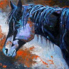 Ricky's Mare - black quarter horse mare oil painting, original ...