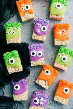 3-ingredients to make these adorable (and delicious) Halloween treats -- Monster Rice Krispies Treats, Peanut Butter Spider Cookies, Nutter Butter Ghosts, and Witch Finger Pretzels. chelseasmessyapron.com