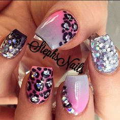 """#coffinshape#pink#grey#silver#iridescentglitter#chunkyglitter#black#glitterombre#acrylicombre#glitter#leopard#glitterinthemiddle#love#crystals#diamonds#love#stephsnails#pinkandgreynails#leopardnails"""