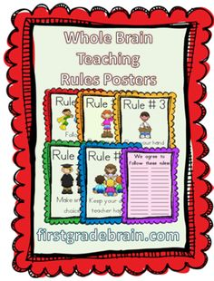 Whole Brain Teaching Rules Posters - FREE from FirstGradeBrain on TeachersNotebook.com -  (9 pages)  - Whole Brain Teaching Rules Posters - FREE