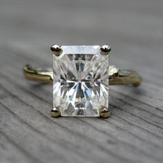 "This is ""The One"". Love! <3 Emerald Cut Moissanite Branch Engagement Ring"