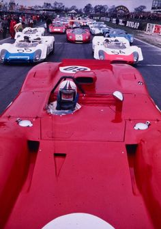 Chris Amon on the starting grid of the 1969 BOAC International 500 in his Ferrari 312P qualifying 2nd, Amon -together with Pedro Rodriguez- finished 4th in the racebehind we can see thefactory Porsche 908/02 of Gerhard Mitter & Udo Schütz (54) & Vic Elford & Richard Attwoord (55)another factory 908/02 (not pictured) would win the race (after also having qualified the fastest), driven by Jo Siffert
