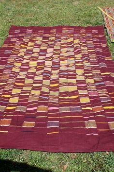 Tribal Textile Burgundy Pastel Ewe Kente Cloth by WomanShopsWorld, $380.00