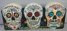 Dia De Los Muertos Trio Pattern Packet from Oil Creek Originals Painted Bricks Crafts, Brick Crafts, Painted Pavers, Painted Rocks, Concrete Crafts, Concrete Pavers, Concrete Blocks, Cement, Fall Crafts