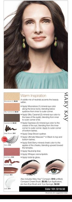 We love this Warm Inspiration look - a subtle mix of neutrals accents the beauty within. www.marykay.com.mx/almareza #marykaydfsur Facebook/Ilumina tu Belleza con Mary Kay