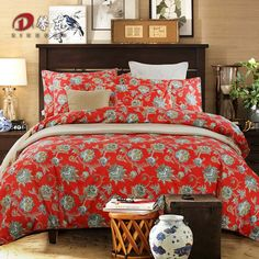 Floral Printing Satin Bedding Set Luxury Egyptian Cotton Bed Set King Queen Size Bed Linen Duvet Cover Set Bedclothes Red Z65