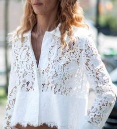 Refreshing White Hollow Out Lace Spliced Short Shirt For Women