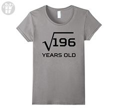 Women's Square Root Of 196 Funny 14 Years Old 14th Birthday T-Shirt Small Slate - Birthday shirts (*Amazon Partner-Link)