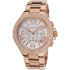 Michael Kors Michael Kors Women's Rose-Tone Chronograph Watch, 43mm -... (£155) ❤ liked on Polyvore featuring jewelry, watches, bracelets, pink, pink dial watches, dial watches, stainless steel wrist watch, chronograph watch and pink jewelry