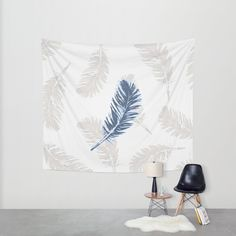 "A blue pigeon feather over a light grey background. Original vector file. This is a coordinate print for ""my blue feathers"" pattern. #feather #blue #grey #wallart #tapestry #homedecor #decor #art #print"