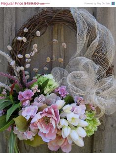 Floral Wreath Summer Garden Wreath Elegant by NewEnglandWreath, $103.20