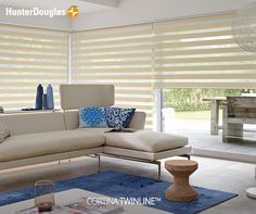 The light, white contemporary look of Twist complements the large window and light room style. roller blinds # home decor Roller Cortinas, Cortinas Rollers, Persiana Double Vision, Persiana Sheer Elegance, Modern Window Design, Zebra Blinds, Store Bateau, Window Styles, Roller Blinds