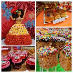 Hula girl cake& sliders (esp. Bbq pork on hawaiian bread)