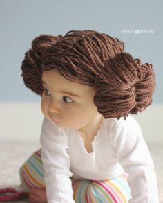 Princess Leia Yarn Wig - Repeat Crafter Me Princess Leia Buns, Star Wars Princess Leia, Baby Princess Leia Costume, Ewok, Happy Star Wars Day, Yarn Wig, Repeat Crafter Me, Birthday Star, Funny Birthday