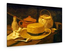 Vincent van Gogh - Still life with yellow straw hat - 1881 #Vincent #Van #Gogh #weewado #vincent #van #gogh #art #pipe