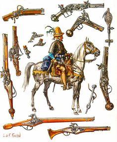 """""""Pistolier armé de quatre pistolets, vers 1580"""", Liliane et Fred Funcken"""